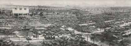Panorama Photograph of the Great Stockyard Fire of Kansas City, 1917