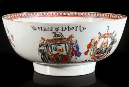 18th C. Chinese Export Armorial Punch Bowl Commemorating John Wilkes