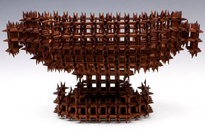Early 20th Century Tramp Art Crown of Thorns Basket