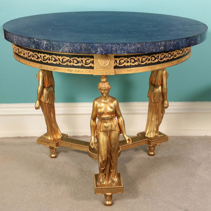 A Fine Ormolu Bronze and Lapis Center Table