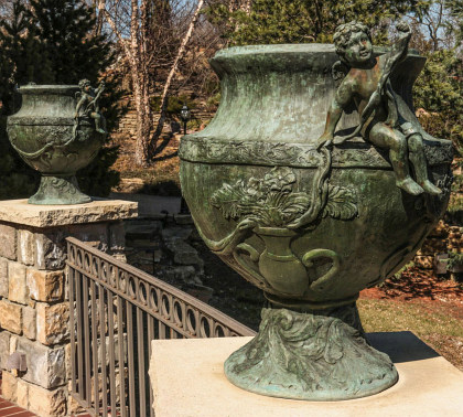 Pairs of Grand Bronze Garden Urns