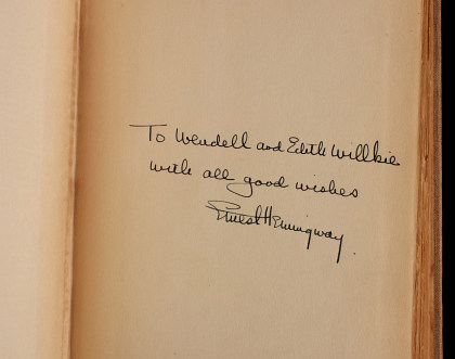 Signed Early Edition 'For Whom the Bell Tolls,' Inscribed to Wendell Willkie