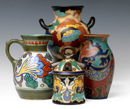 A Large Collection of Gouda Art Pottery