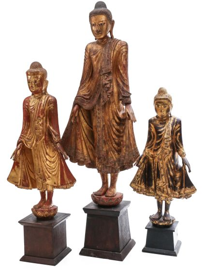 Carved and Gilded Wood Figures of Buddha up to 60 inches