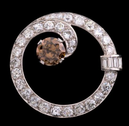 Platinum Brooch with 2 Carat Brown Diamond