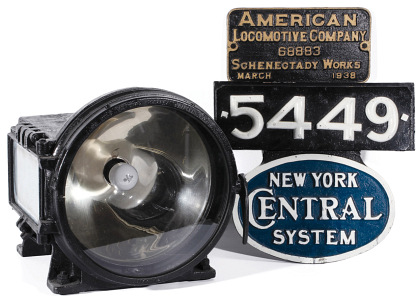 The Builder's Plate, Headlight and Number Board from New York Central 4‑6‑4 J3 Hudson 5449