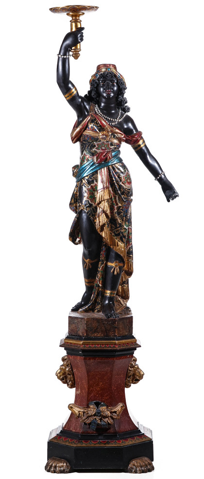 A Good 19th Century Carved and Painted Venetian Blackamoor on Plinth