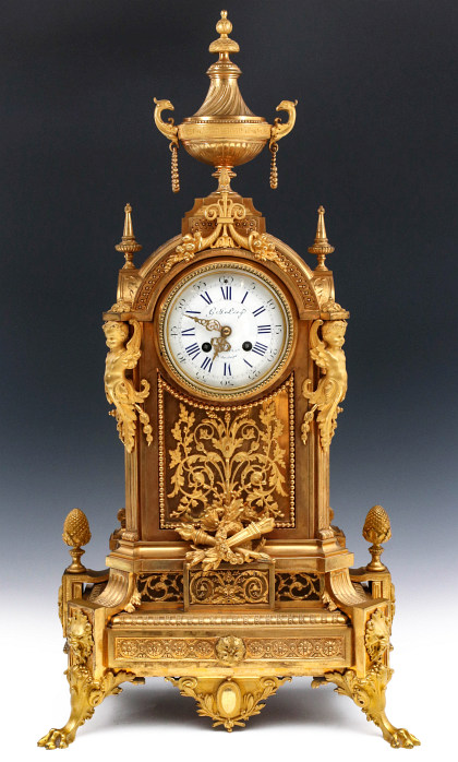 A Large Gilt Bronze Clock, Signed Gustav Levy, Paris