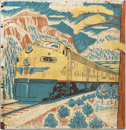 Detail of Union Pacific Dining Car Mural