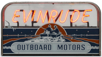 A Rare Evinrude Sign with Neon Over Reverse Painting