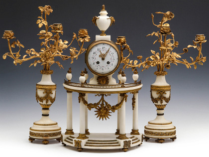 A Marble and Ormolu Portico Clock Set Signed Marti