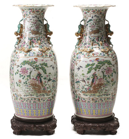 Fine 19th Century Chinese Porcelain Floor Vase Pair