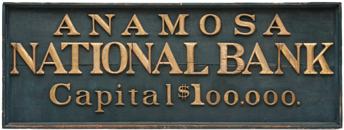 Large Sign with Gilded Wood Letters