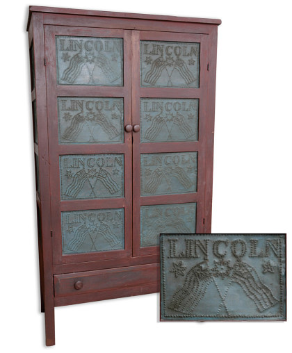 Rare Pie Safe with LINCOLN Tins