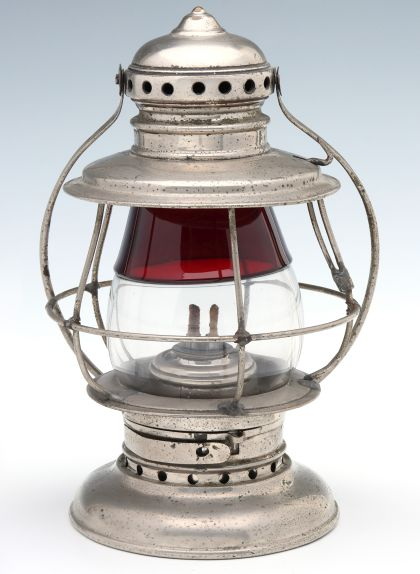 Red to Clear Conductor's Lantern, Signed Crerar Adams