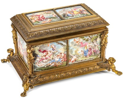 A 19th Century Ormolu Casket with Viennese Enamels