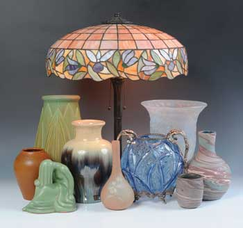 Art pottery, glass and lamps