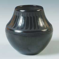 Black on black pottery