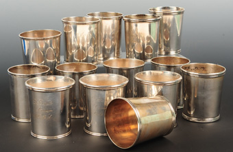 Collection of 14 Coin Silver Julep Cups