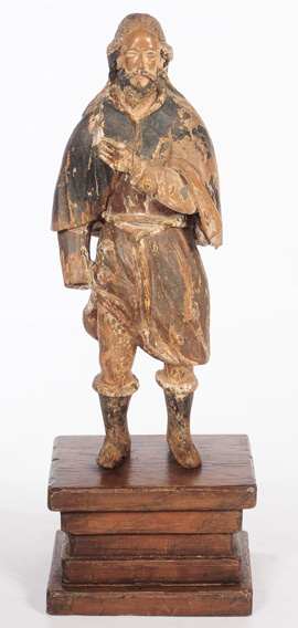17th/18th Century Continental Carved Wood Saint Carving