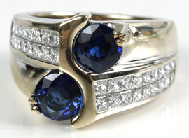 Sapphire & Diamond Channel-Set Ring