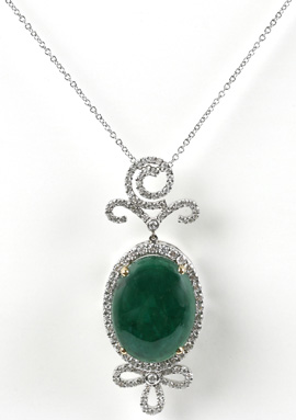 Emerald Diamond-Encrusted Pendant Necklace